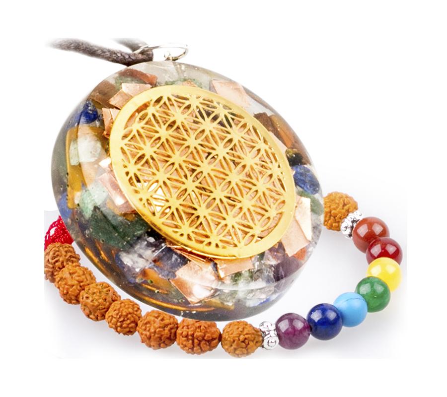 Electromagnetic Radiation Protection Necklace: Orgone Pendant Generator Energy Accumulator Flower Of Life